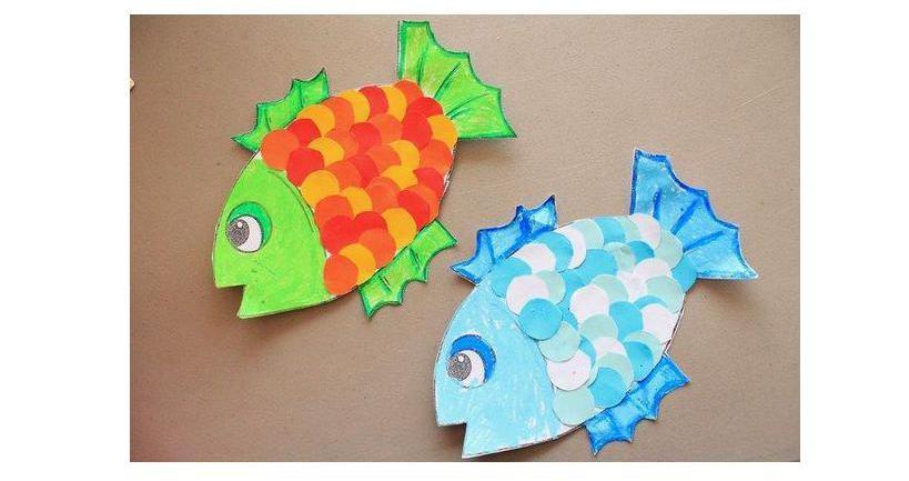как сделать рыбку из цветной бумаги