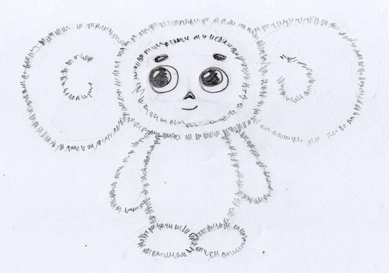 Картинки чебурашки карандашом