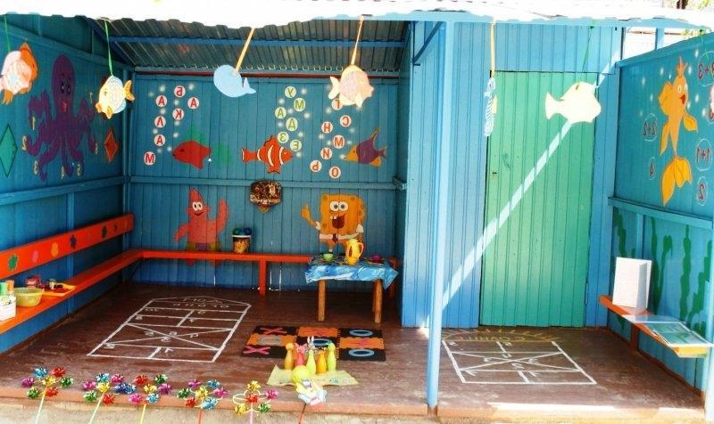 Оформление веранды в детском саду.