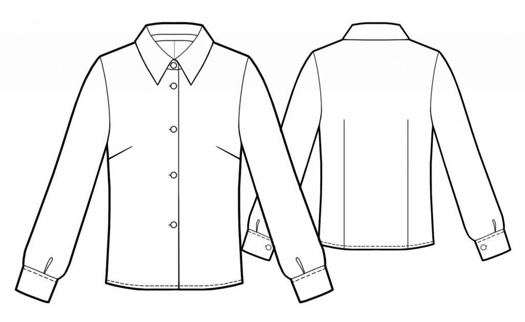 Технический рисунок рубашки женской
