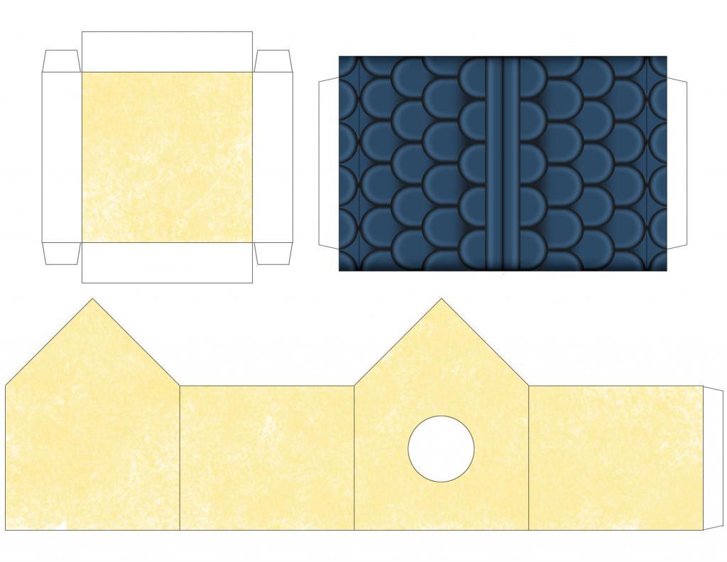 бумажный домик для птиц шаблон для печати цветной