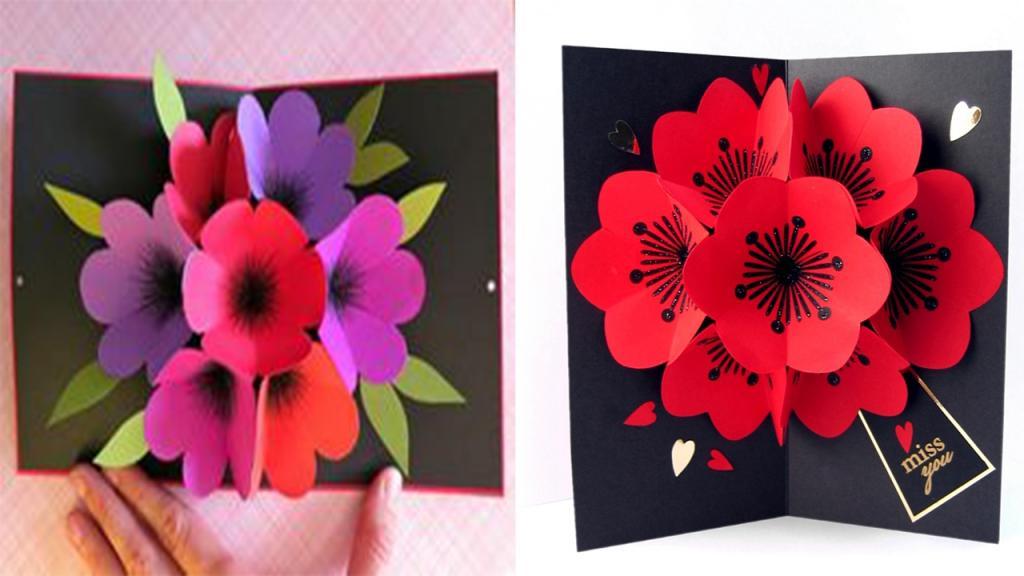 объемная открытка с цветами внутри своими руками мастер -класс
