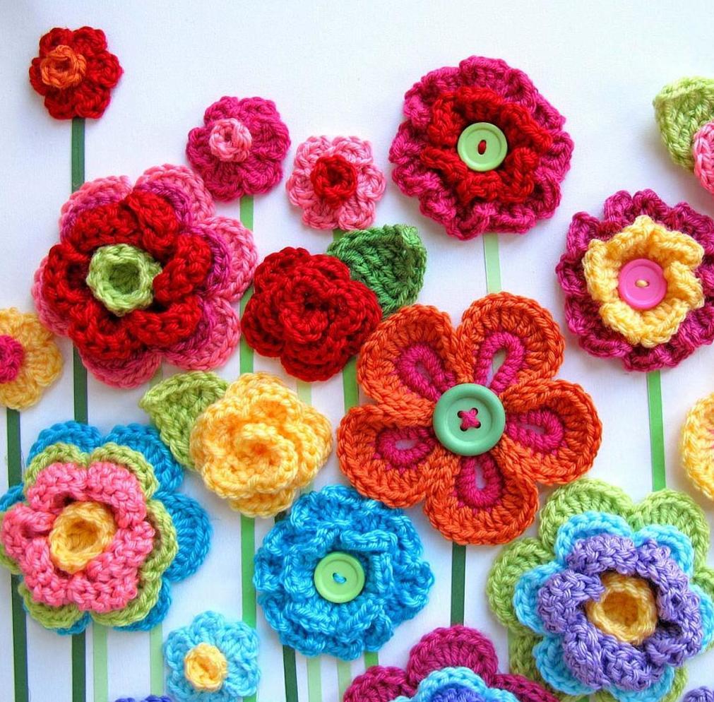 Лучшие подруги, открытка с цветами вязанные крючком