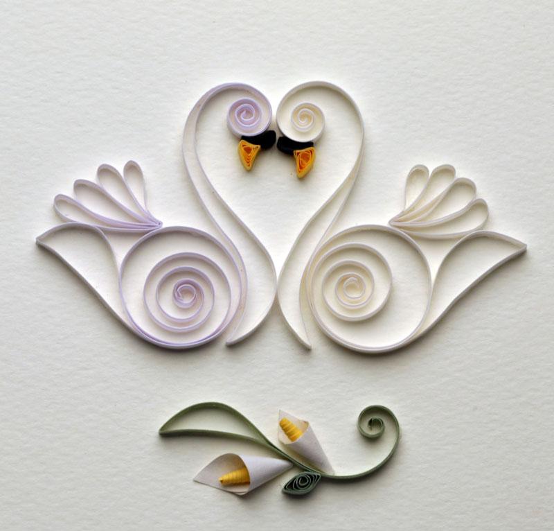 открытки с лебедями квиллинг