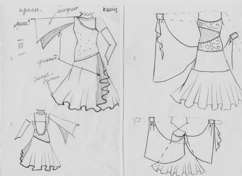 Пошив платья для спортивных танцев